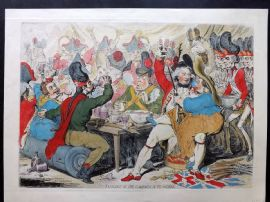 James Gillray 1851 HCol Caricature Print. Fatigues of the Campaign in Flanders